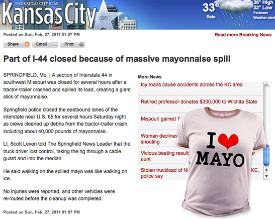 Mayonnaise truck spill on I-70 Funny News