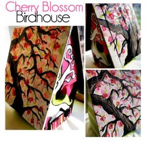 Custom Handpainted Cherry Blossom Birdhouse