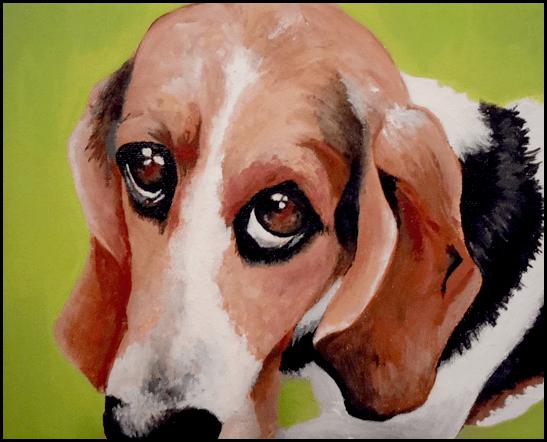 Moose the Basset Hound Dog Acrylic Painting