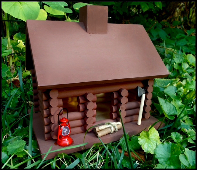 Log Cabin Birdhouse - Custom Painted with Minature Additions