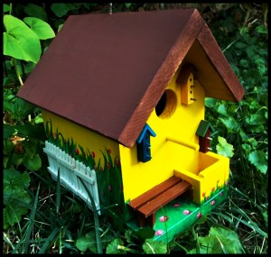 Yellow Cottage Custom Painted Birdhouse