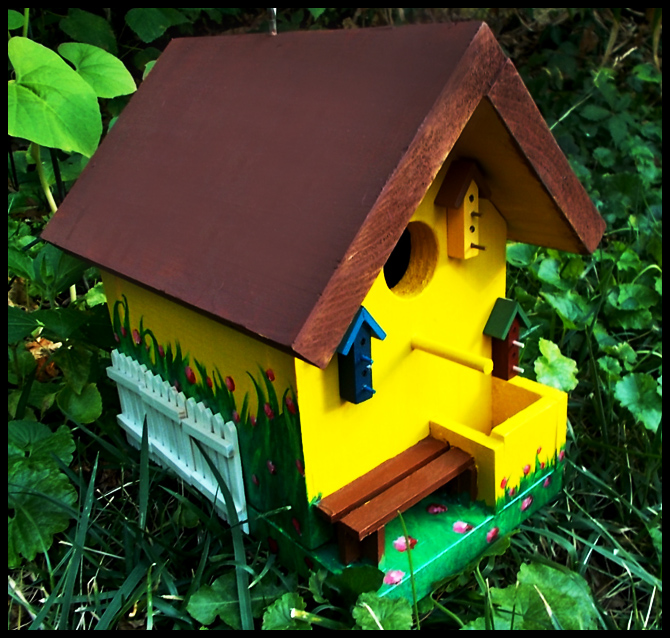Yellow Cottage Custom Painted Birdhouse