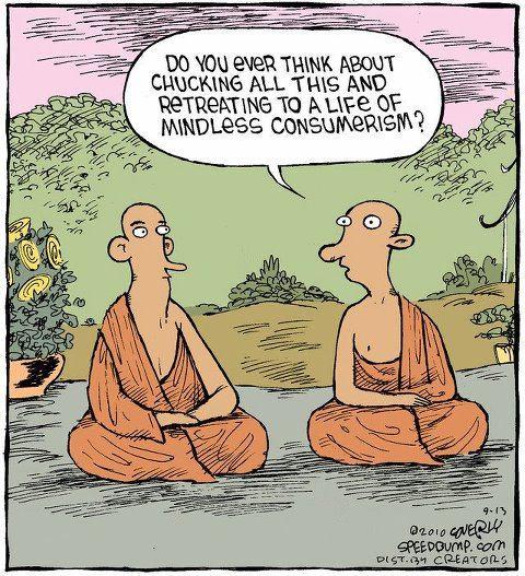 Monks Consumerism Cartoon