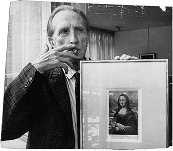 Artist Marcel Duchamp with L.H.O.O.Q.