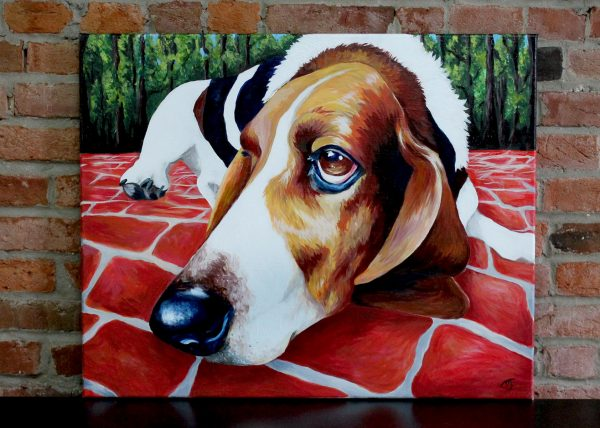 The Face of Love by Jessica J. Johnston basset hound painting