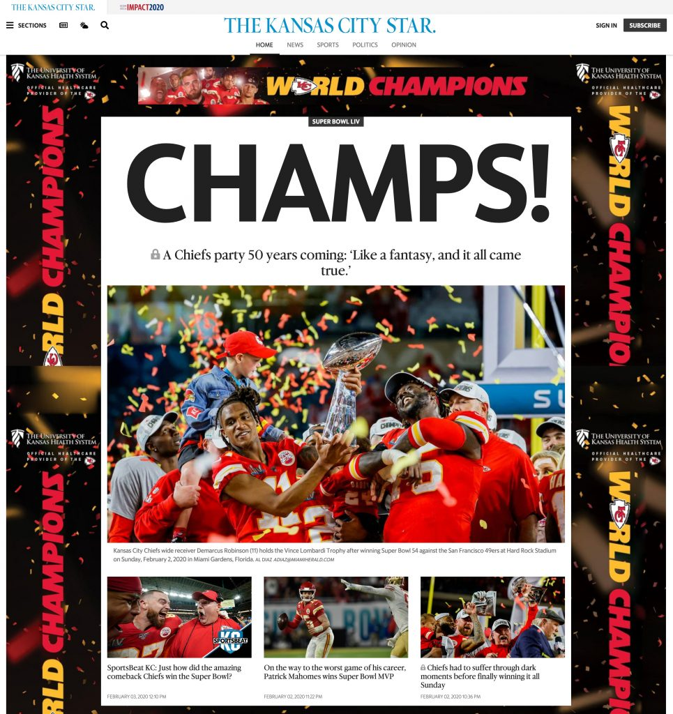KC Star Chiefs Super Bowl Win