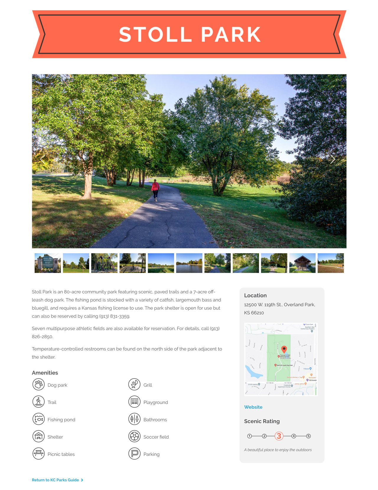 Kansas City Parks Guide Web Development Responsive
