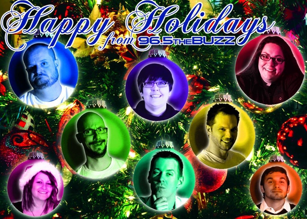 96.5 The Buzz Christmas Card Design with Lazlo, Afentra, Jeriney, etc.