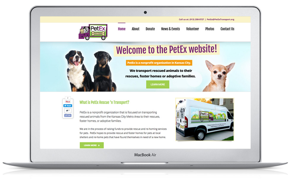PetEx Transport Animal Rescue Website Design