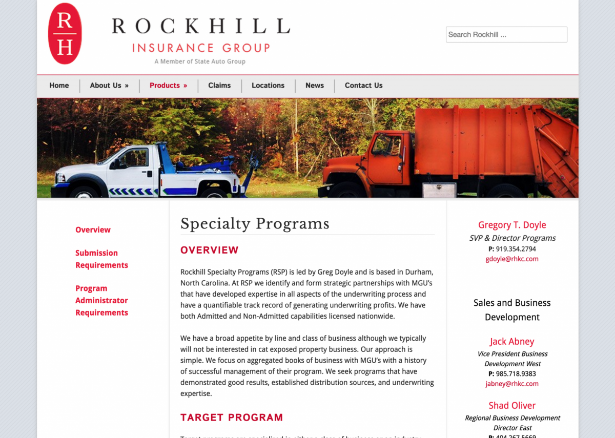 Rockhill Insurance Company Website Design • JJJ.