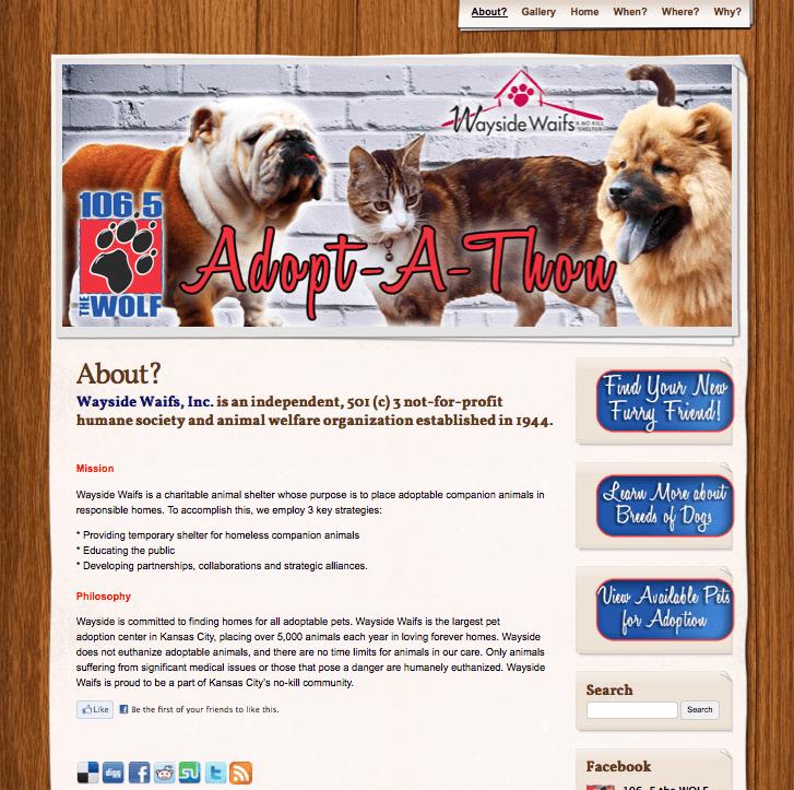 Adoptathon Pet Adoption Website for WDAF, 106-5 The Wolf Radio Station