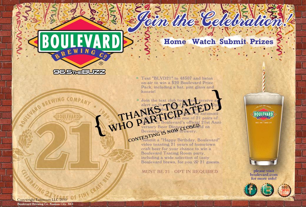 Boulevard Brewing Co. 21st Birthday Landing Page Design