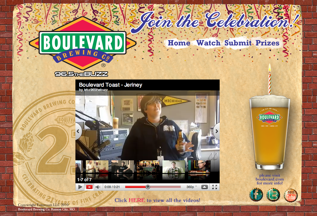 Boulevard Brewing Co. 21st Birthday Landing Page Design