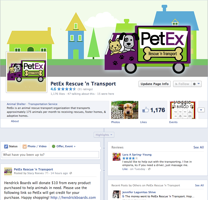 PetEx Rescue 'n Transport Facebook Page Branding