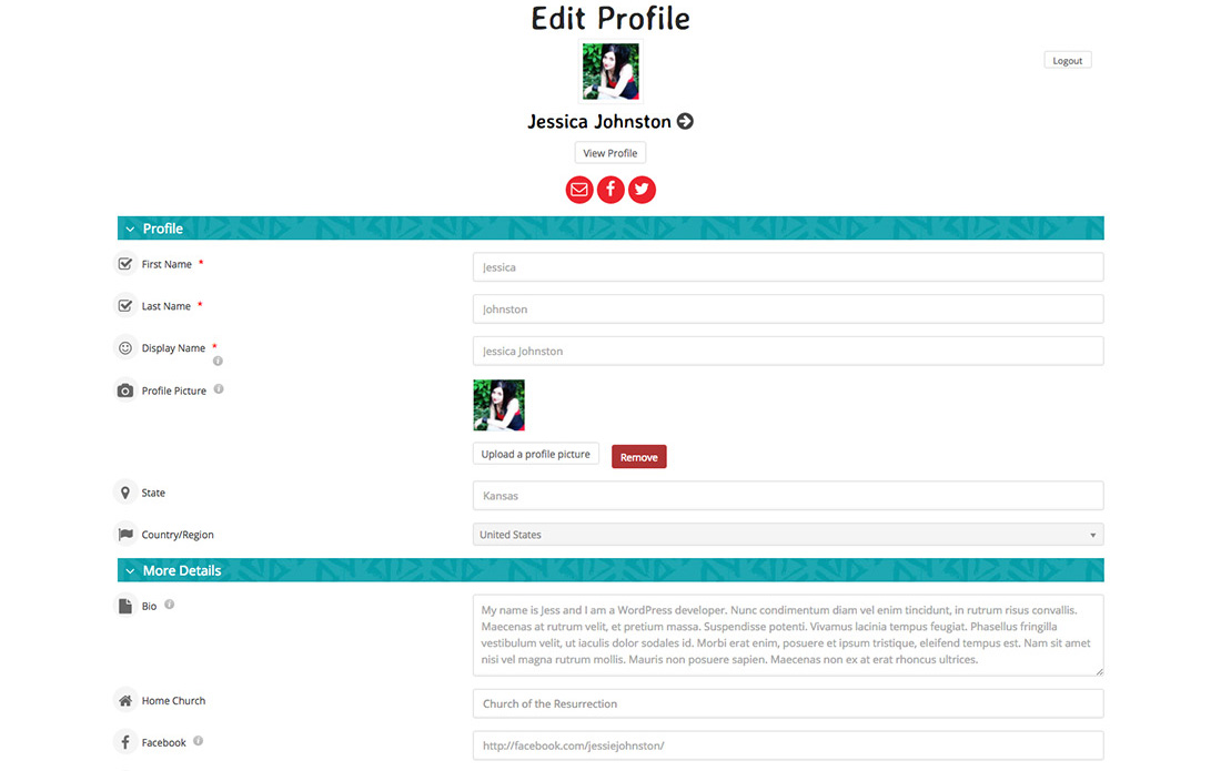 Edit Giving Profile Page