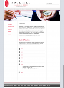 Insurance company website design